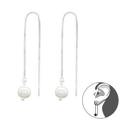 Durchzieher Ohrringe 925 Sterling Silber Ohrhänger mit Süßwasserperle