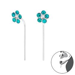 Durchzieher Ohrringe 925 Sterling Silber Ohrhaken mit Blume in blau