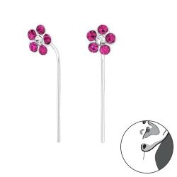 Durchzieher Ohrringe 925 Sterling Silber Ohrhaken mit Blume in fuchsia