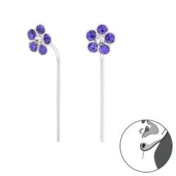 Durchzieher Ohrringe 925 Sterling Silber Ohrhaken mit Blume in lila