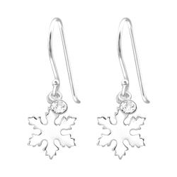 925 Sterling Silber Ohrhaken Ohrhänger Schneeflocke mit Kristall