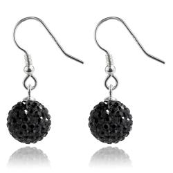 925 Sterling Silber Shamballa Ohrhaken Ohrringe in schwarz