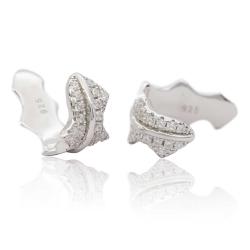 Ohrklemmen Ear Cuffs Blatt 925 Sterling Silber mit Zirkonia