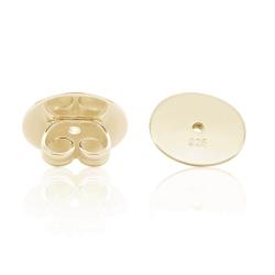 Ohrmutter Ohrstecker 925 Sterling Silber gelbvergoldet Butterfly-Verschluss mit Platte 10mm Stück