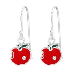 925 Sterling Silber Ohrhaken Ohrhänger Apfel mit Kristall