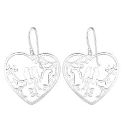 925 Sterling Silber Ohrhaken Ohrhänger Vögel auf Ast im Herz