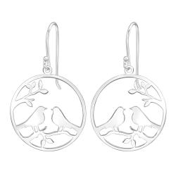 925 Sterling Silber Ohrhaken Ohrhänger Vögel auf Ast im Kreis