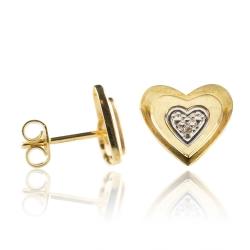 Ohrstecker 333 Gelbgold Herz mit Diamanten 0,005ct