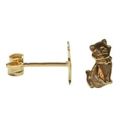 Ohrstecker Katzen in 333 Gold 8kt, teil-mattiert
