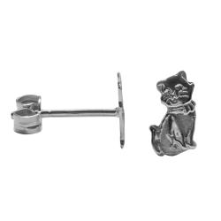 Ohrstecker Katzen in 925 Sterling Silber teilmattiert