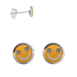 Ohrstecker mit Smiley in orange