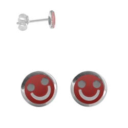 Ohrstecker mit Smiley in rot