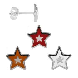 Silber Ohrstecker mit Stern in verschiedenen Farben