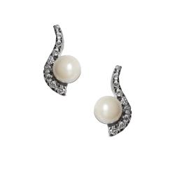 Ohrstecker Ladylike mit Perle und gefassten Zirkonia in Silber