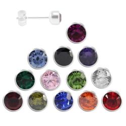 Ohrstecker mit runden Zirkonia in verschiedenen Farben