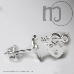 Ohrstecker Herz mit Schlüssel
