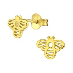 925 Sterling Silber Ohrstecker vergoldet mit Biene