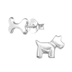 Ohrstecker 925 Sterling Silber mit Hund und Knochen