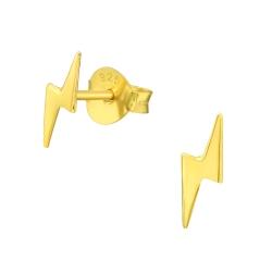 925 Sterling Silber Ohrstecker vergoldet mit Blitz