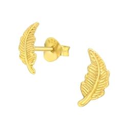 925 Sterling Silber Ohrstecker vergoldet mit Feder