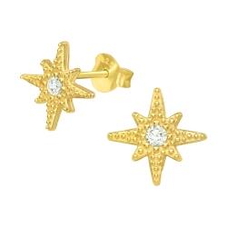 925 Sterling Silber Ohrstecker vergoldet Polarstern mit Zirkonia
