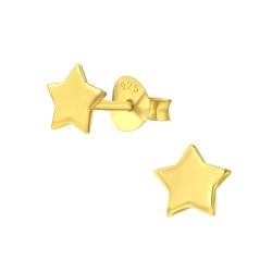 925 Sterling Silber Ohrstecker vergoldet mit Stern