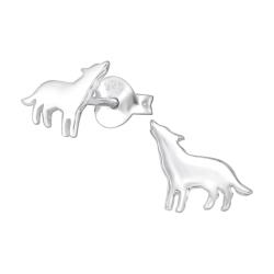 Ohrstecker 925 Sterling Silber mit heulendem Wolf