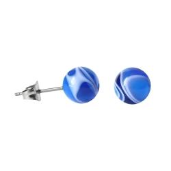 Chirurgenstahl Ohrstecker mit marmorierter Acrylkugel blau 8mm