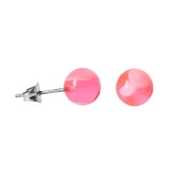 Chirurgenstahl Ohrstecker mit marmorierter Acrylkugel pink 8mm