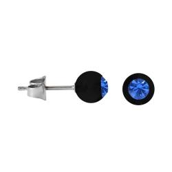 Chirurgenstahl Ohrstecker mit schwarzer Acrylkugel Blau 6mm
