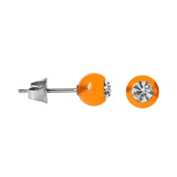 Chirurgenstahl Ohrstecker mit farbiger Acrylkugel orange 6mm
