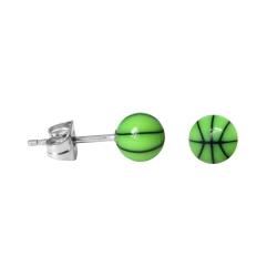 Chirurgenstahl Ohrstecker Basketball in grün 5 mm