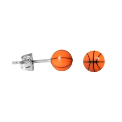 Chirurgenstahl Ohrstecker Basketball in orange 5 mm