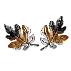 Ohrstecker Blätter in Schwarz-Gold-Silber