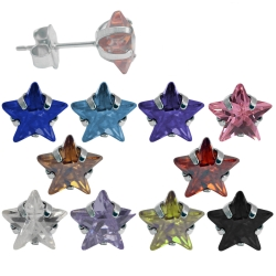 Ohrstecker Chirurgenstahl mit Stern in verschiedenen Farben und Größen