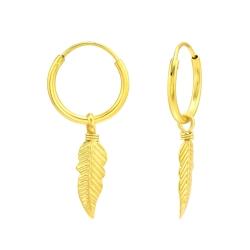 Creolen Ohrringe 925 Sterling Silber vergoldet mit Feder