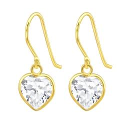 925 Sterling Silber Ohrhaken Ohrhänger vergoldet mit transparentem Zirkonia-Herz