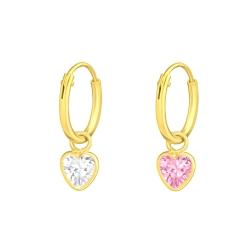 Creolen Ohrringe 925 Sterling Silber vergoldet mit Zirkoniaherz in transparent oder pink