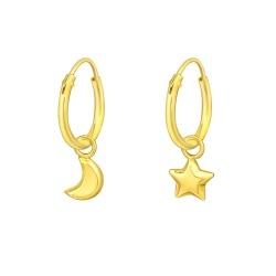 Creolen Ohrringe 925 Sterling Silber vergoldet mit Mond und Stern