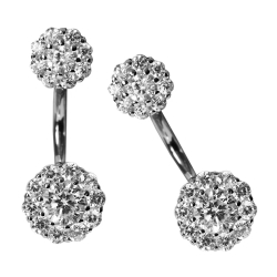 Silber Ohrstecker Dangle Ear Jacket mit Zirkonia Blumen in weiß