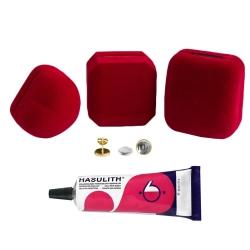"""Mein-Ohrstecker DIY Set """"Goldy"""" 925er Silber vergoldet 9-13mm mit roter Schmuckbox"""