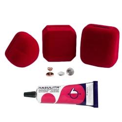 """Mein-Ohrstecker DIY Set """"Rosy"""" 925er Silber rosévergoldet 9-13mm mit roter Schmuckbox"""