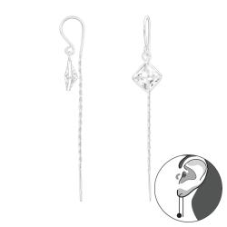 925 Sterling Silber Ohrhaken Ohrhänger mit Zirkonia-Quadrat