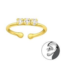 Ear Cuff 925 Sterling Silber Ohrklemme vergoldet mit Kristallen
