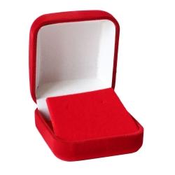 Schmucketui für Ohrstecker mit Samtüberzug rot