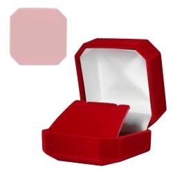 Schmucketui für Ohrstecker eckig mit Samtüberzug rot