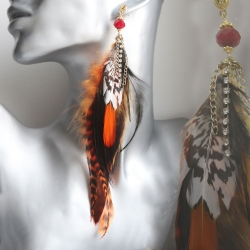 Feder Ohrstecker Feuervogel echtvergoldet - handgearbeitet