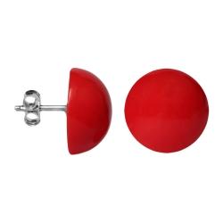 Modeschmuck Ohrstecker Halbkugel in glänzend rot