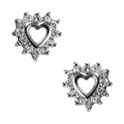 Ohrstecker Herz mit Zirkonias in Silber