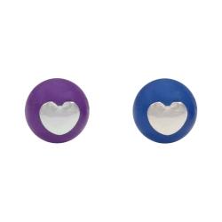 Ohrstecker Herz mit Blauachat oder Amethyst Kugel